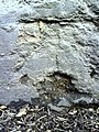 Weathered benchmark on base of gatepost at entrance to St Michael ^ All Angels' Church - geograph.org.uk - 2285652.jpg