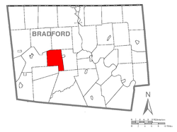 Map of Bradford County with West Burlington Township highlighted