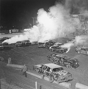 Demolition derby - Competition at the West End Fair Demolition Derby, Gilbert, Pennsylvania. This annual event is held on three successive nights each August, with approximately 100 automobiles entered each night. Attendance at the event ranges from 2,000-4,000 spectators.