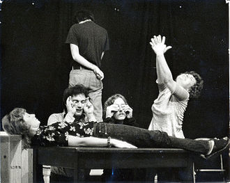 Westbeth Playwrights Feminist Collective - Wicked Women Revue showing scene from Franklin's Bride by Chryse (Christina) Maile. Actors: (l-r) Helen Pugatch, Michael Darrow, Joel Simon, Tom Leo, Alix Elias. 1973. Photo by Patricia Horan