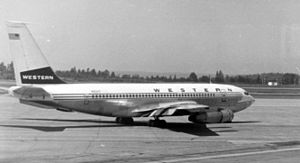 Western Airlines - Boeing 720B with the old livery at Seattle 1972