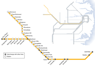North Shore, Northern & Western Line - Diagram of Western line prior to merger in 2013