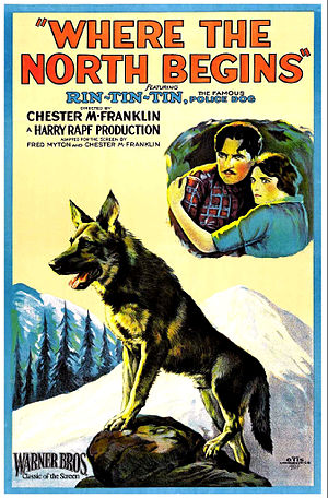 Rin Tin Tin - Poster for Rin Tin Tin's star debut, Where the North Begins (1923)