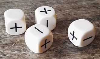 Fudge (role-playing game system) - A set of Fudge dice