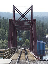 White Pass and Yukon Route bridge from Carcross, Yukon.jpg