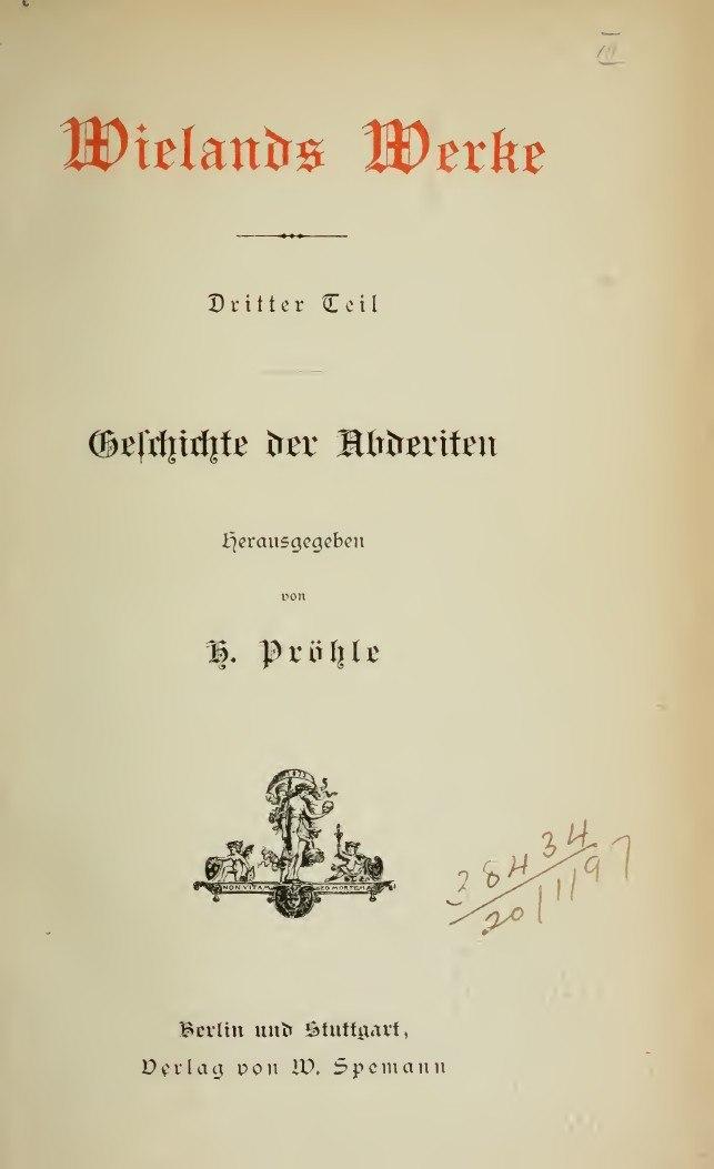 Wieland, Christoph Martin – Geschichte der Abderiten, 1887 – BEIC 3327825