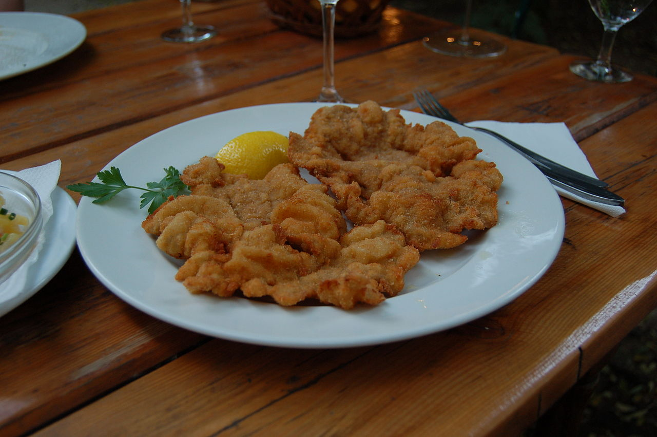 ... trout schnitzel with mustard caper cream sauce and a pan seared