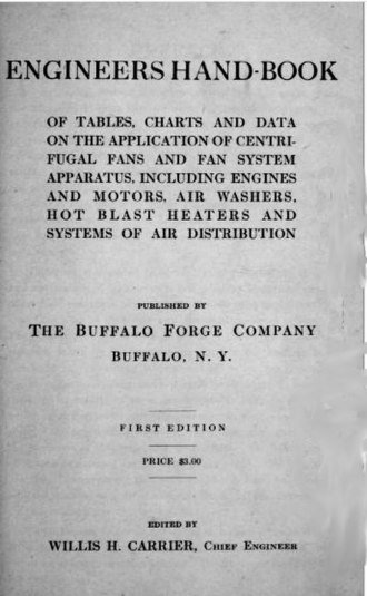 Willis Carrier - Engineers Hand-book, edited by Carrier while at the Buffalo Forge Co. in 1914
