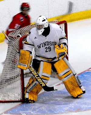 U Sports men's ice hockey - Windsor Lancers goalie in CIS playoff game (February 16, 2012)