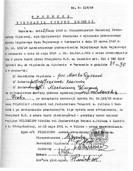 Plik:Witold Pilecki - protokol z egzekucji (execution certificate signed by Smietanski) 1948.jpg