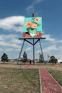 Oversized reproduction of van Gogh's Sunflowers