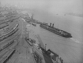 Train ferry - Classification yard and two docking train ferries in Detroit, April 1943. A third ferry slip can be seen at the bottom of the photograph.