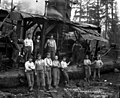 Yarding crew and dog with donkey engine, Big Creek Logging Company, Knappa, ca 1918 (KINSEY 2107).jpeg