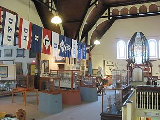 Yarmouth, Nova Scotia - House flags of Yarmouth shipping companies and ship portraits at the Yarmouth County Museum