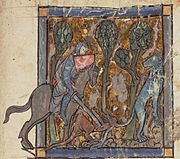 Yvain rescues the lion. Medieval illumination