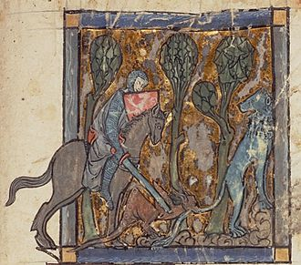 "Knight-errant - ""Yvain rescues the lion"", from Garrett MS 125, an illustrated manuscript of Chrétien de Troyes' Yvain, le Chevalier au Lion, dated to ca. 1295."