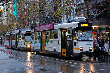 Melbourne's tram network is the largest in the world and the only one in Australia comprising multiple lines. Z3.215 + B2.2028 swanston.JPG