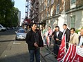 Zahdi Mehmood addressing a protest outside Pakistani High Commission in London.JPG