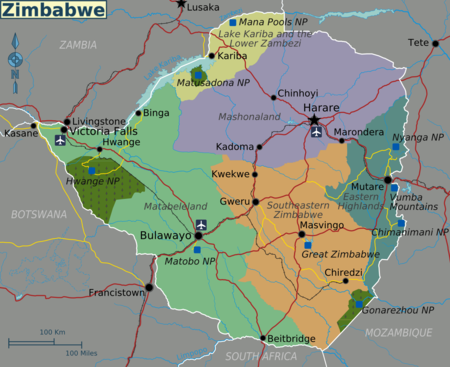 Map Of Africa Showing Zimbabwe.Zimbabwe Travel Guide At Wikivoyage