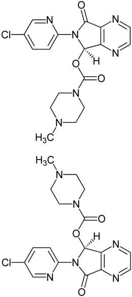 Zopiclone Enantiomers Structural Formulae.png