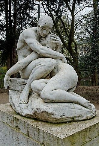 """Peter Breuer - Image: """"Adam und Eva"""" im Florapark in Duesseldorf Unterbilk, von Nordosten"""