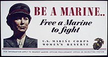 A photograph of a woman marine in a U.S. Marine Corps recruiting poster during the Second World War