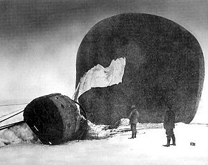 Salomon August Andrée - Örnen (The Eagle) shortly after its descent onto pack ice. Photographed by Nils Strindberg, the exposed plate was among those recovered in 1930.