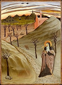 'Saint Anthony Abbot Tempted by a Heap of Gold, ,Tempera on panel painting by the Master of the Osservanza Triptych, ca. 1435, Metropolitan Museum of Art.jpg