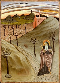 'Saint Anthony Abbot Tempted by a Heap of Gold, ,Tempera on panel painting by the Master of the Osservanza Triptych, ca. 1435, Metropolitan Museum of Art