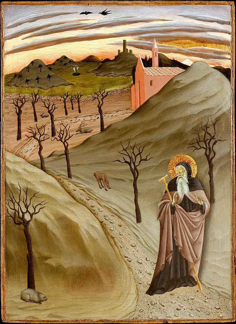 Saint Anthony Abbot Tempted by a Heap of Gold, dans immagini sacre 800px-%27Saint_Anthony_Abbot_Tempted_by_a_Heap_of_Gold%2C_%2CTempera_on_panel_painting_by_the_Master_of_the_Osservanza_Triptych%2C_ca._1435%2C_Metropolitan_Museum_of_Art