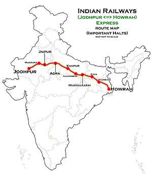 Howrah Jodhpur Express - Image: (Jodhpur Howrah) Express Route map