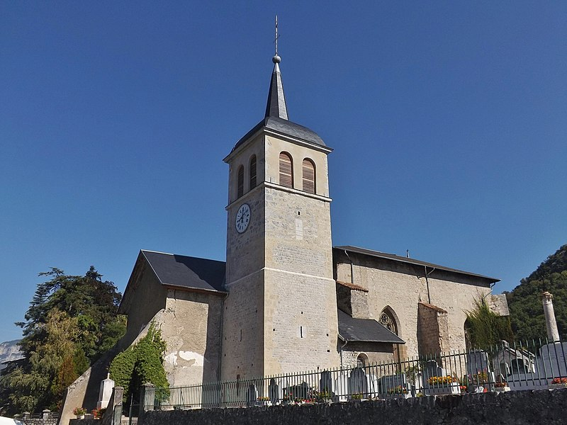 Sight of the église Saint-Georges du Prieuré church, on the French commune of Saint-Jeoire-Prieuré, near Chambéry, in Savoie.