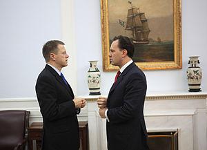 Dimitrios Droutsas - Dimitrios Droutsas as Greek Foreign Minister meeting with Slovenian Foreign Minister Samuel Zbogar in October 2010