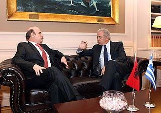 Albania–Greece relations - Foreign Minister of Albania Edmond Panariti and Foreign Minister of Greece Dimitris Avramopoulos in October 2012.