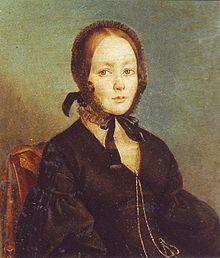Предполагаемый портрет Анны Керн. А. Арефов-Багаев. 1840-е гг. (По другой атрибуции здесь изображена Анна Бегичева, дочь И.М.Бегичева).