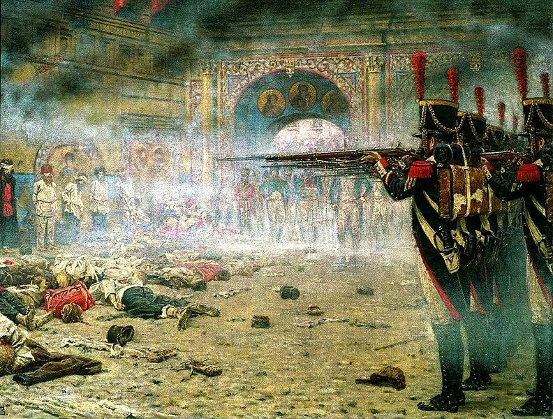 Заградотряды Романяшки расстреливают москвичей, высказавших желание остаться в городе. 1812 год.