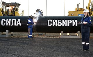 Natural gas pipeline from Siberia to China