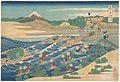 冨嶽三十六景 東海道金谷の不二-Fuji Seen from Kanaya on the Tōkaidō (Tōkaidō Kanaya no Fuji), from the series Thirty-six Views of Mount Fuji (Fugaku sanjūrokkei) MET DP141002.jpg