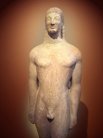 Ancient Thera - Kouros from Ancient Thera, now in the National Archaeological Museum, Athens
