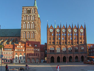 Brick Gothic - Town Hall and St. Nicholas' church in Stralsund, Germany