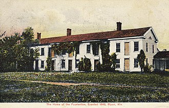 Ceresco, Wisconsin - Colorized postcard showing the residential edifice of the Wisconsin Phalanx.