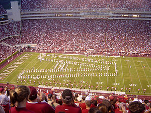 University of Arkansas Razorback Marching Band - The Razorback Marching Band in formation at Razorback Stadium.