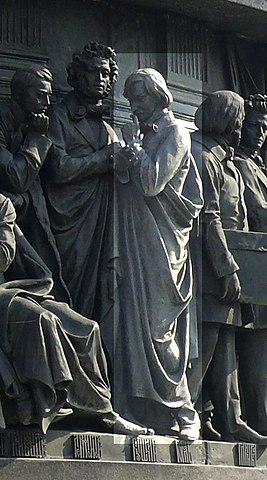Н.В.Гоголь на Памятнике «1000-летие России» в Великом Новгороде