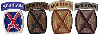 Shoulder sleeve insignia - Example of the four types of shoulder sleeve insignia for the U.S. 10th Mountain Division (LI); full color (used on the Army Greens), BDU subdued, desert subdued, UCP subdued