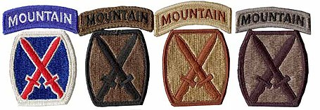 Example of the four types of shoulder sleeve insignia for the U.S. 10th  Mountain Division (LI)  full color (used on the Army Greens) 6ffaa58f797