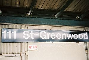 111th Street (IND Fulton Street Line) - Station name signage