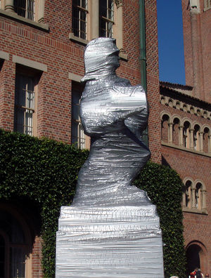 Duct tape - University of Southern California's Tommy Trojan statue wrapped in duct tape prior to a football game