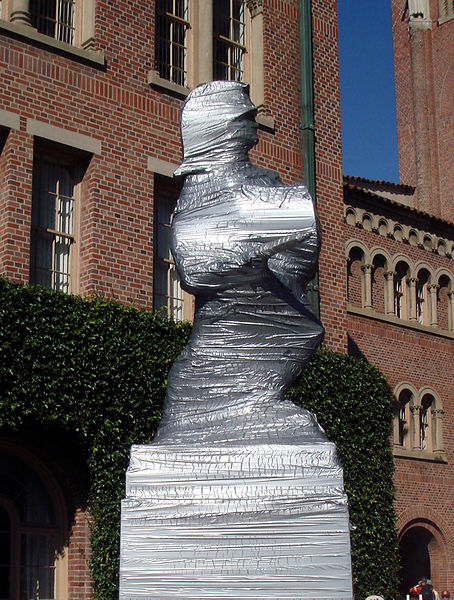 Tommy Trojan covered in duct tape in preparation for UCLA football game.