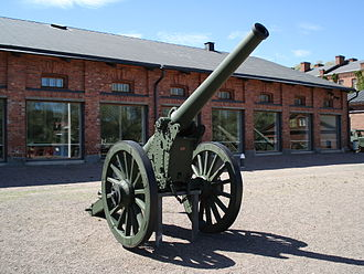 The Artillery Museum of Finland - 120 K 78-16 in front of the gun hall.
