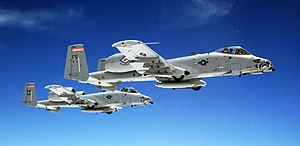 Arkansas Air National Guard - A pair of U.S. Air Force A-10 Thunderbolt II aircraft assigned to the 188th Fighter Wing, fly in formation over Kansas, June 7, 2014.